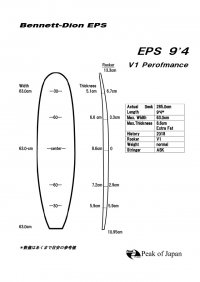 "Bennett-Dion EPS technology ロング 9'4"" V1モデル"